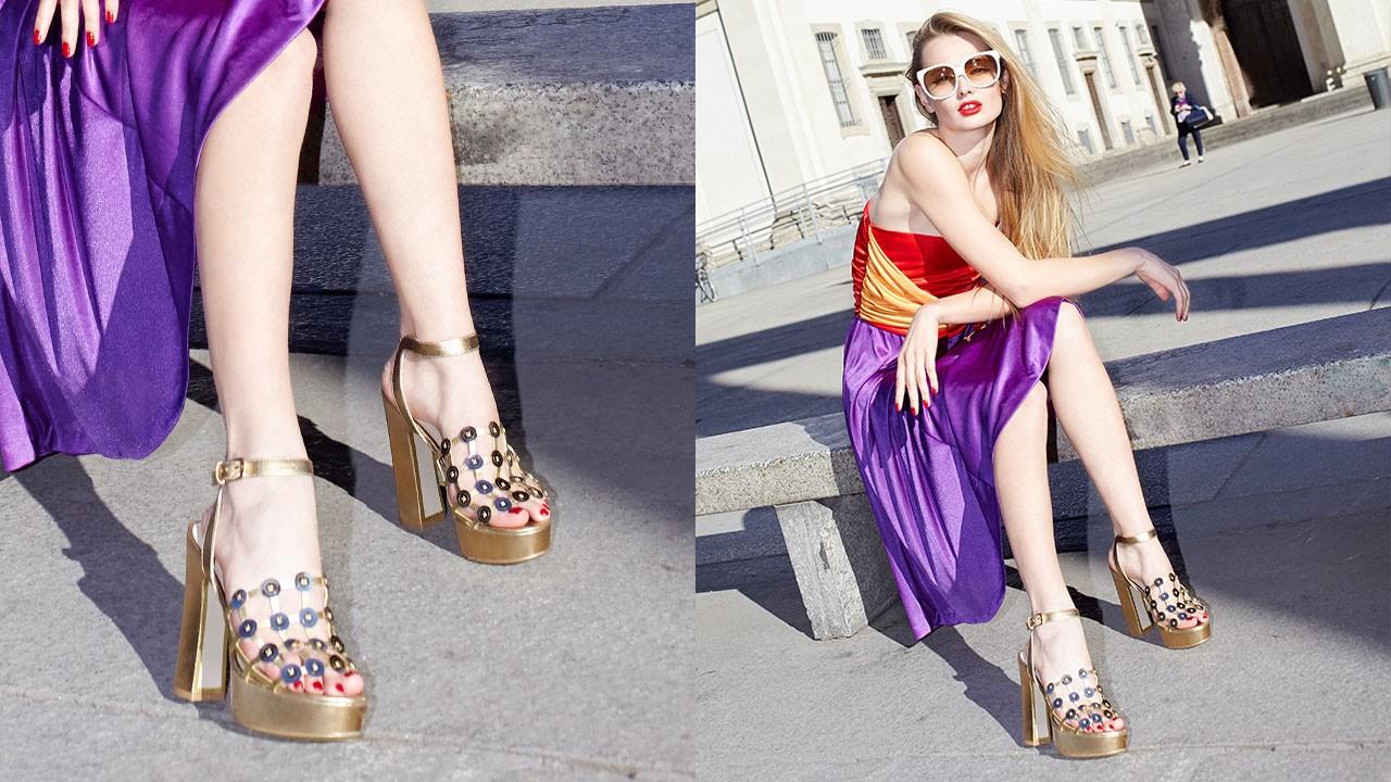 Banana heel platform sandals